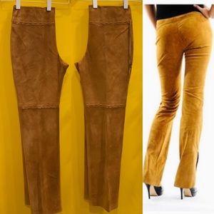 Vintage Camel Genuine Suede Pants w Scallop Detail